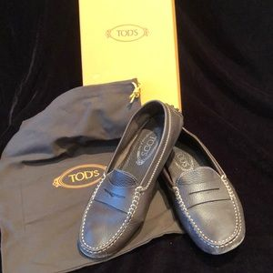 TODS pebbled  leather penny driving shoe